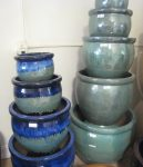 """Glazed pots rainging in size from 24"""" down to 16"""""""